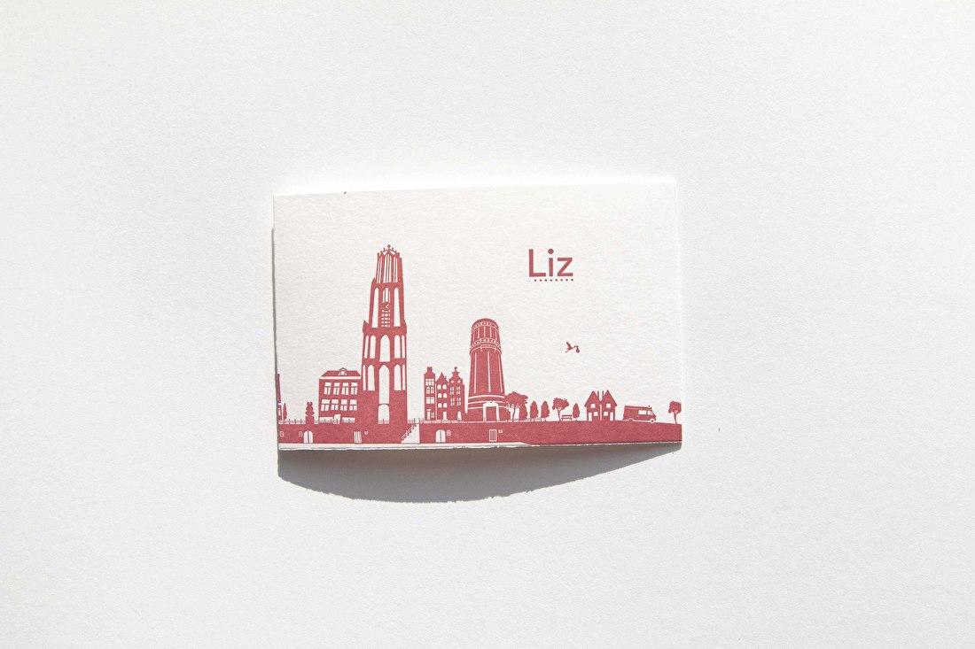 Lis, geboortekaartje, goedkoop, letterpress, skyline Utrecht, nijntje, de dom, Oud Hollands papier, met scheprand, minimalistisch