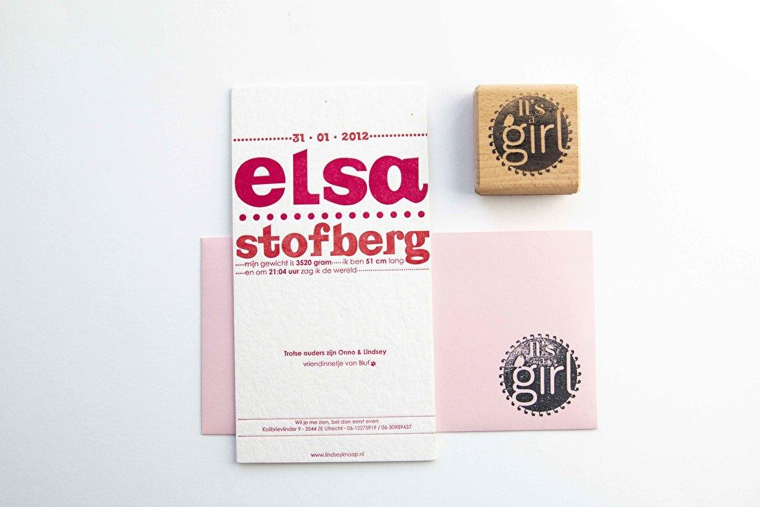 geboortekaartje letterpress Elsa vintage goedkoop lettertype
