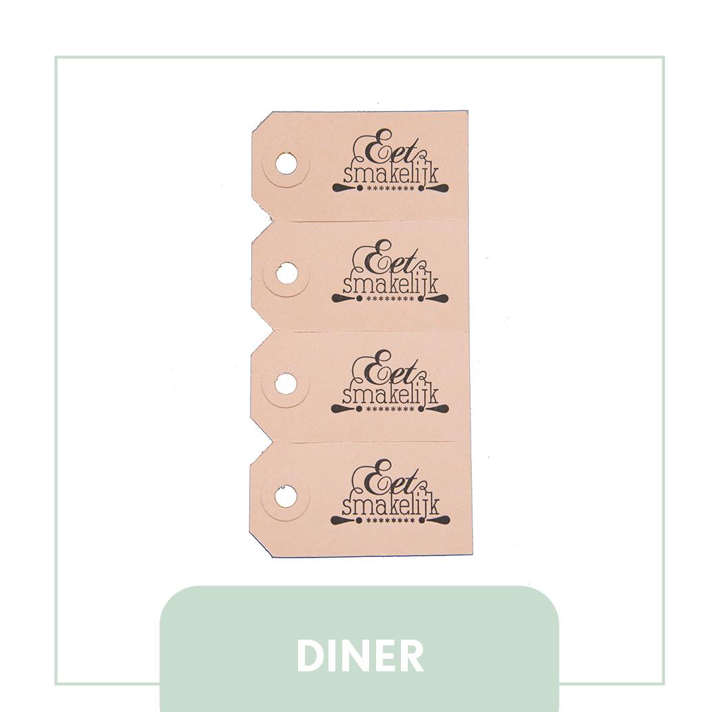 diner labels tafelen vrienden kraft letterpress inspiratie