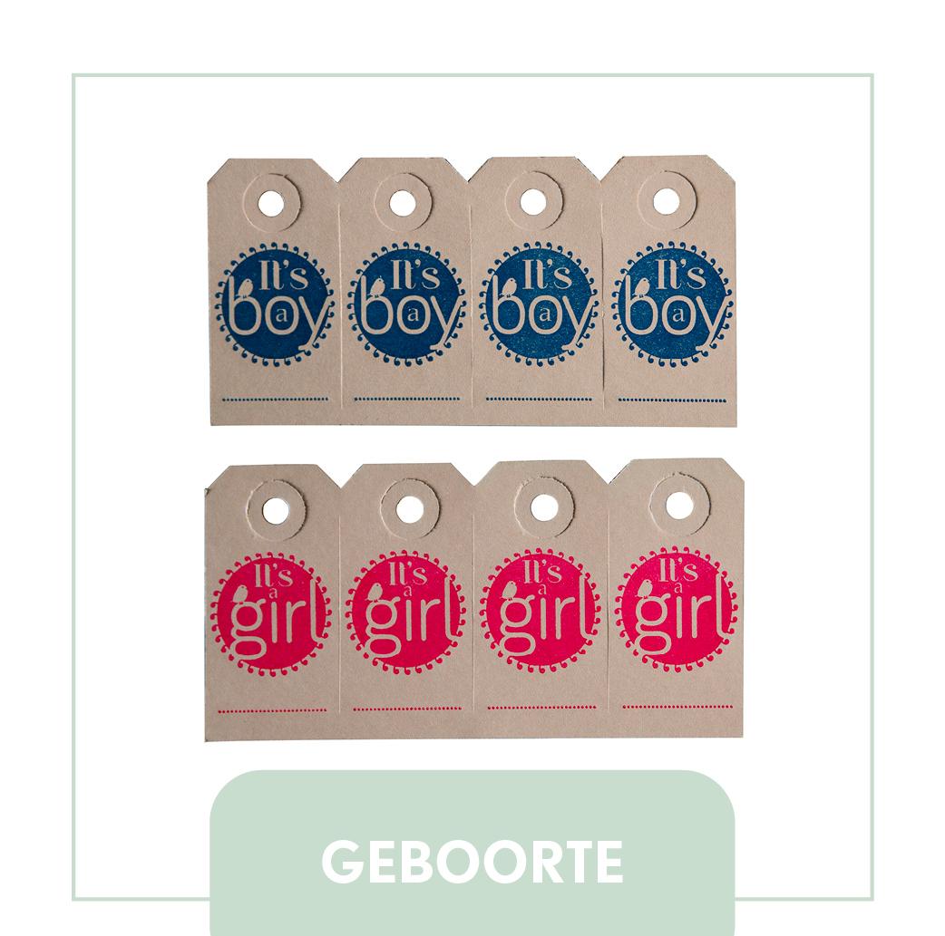geboorte labels its a boy its a girl letterpress
