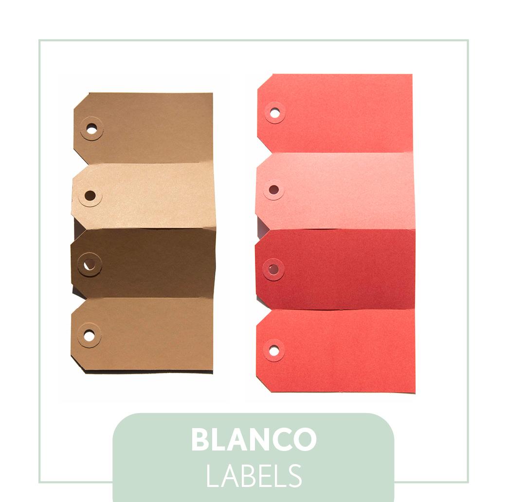 Blanco kraft labels bruin, rood, groen, geel