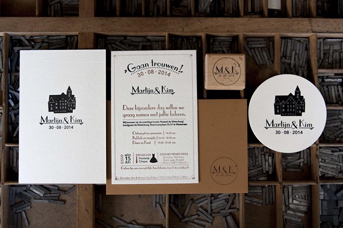 trouwkaart letterpress, vintage, goedkoop, Witteburg, wassenaar, trouwstijl,