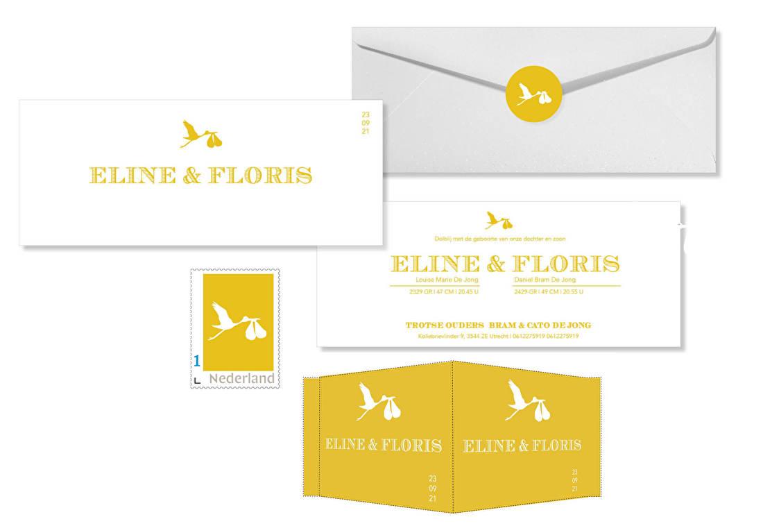 geboortekaartjes tweeling letterpress, ooievaar, geboortekaartje goedkoop