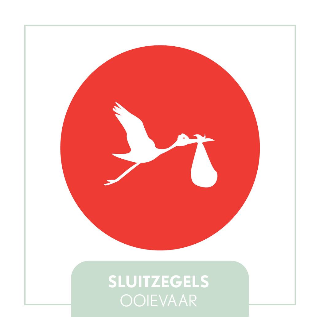 sluitzegels/stickers ooievaar rood meisje hip modern goedkoop