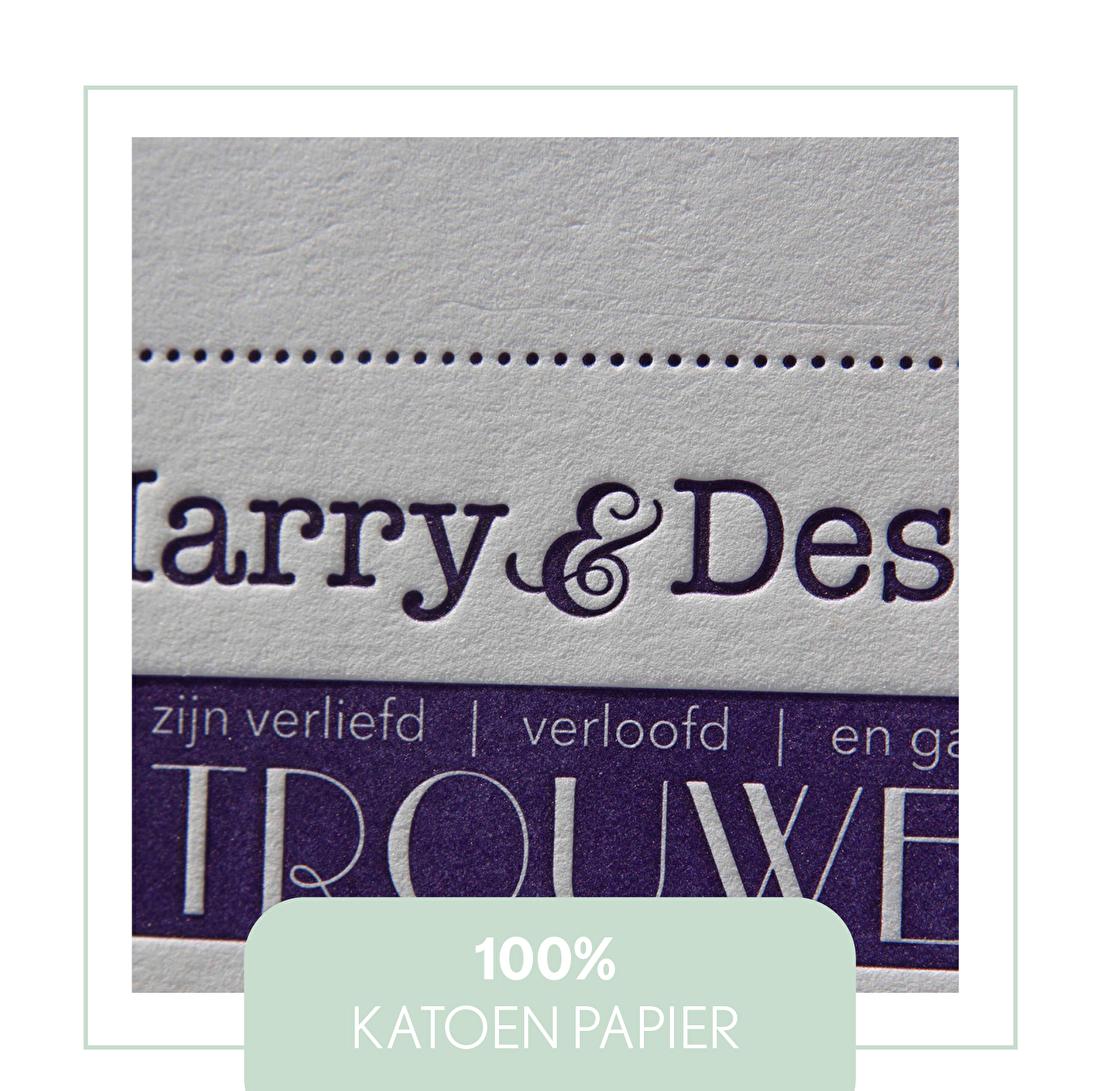 100% katoen papier letterpress, katoenpapier gmund cotton white, cream linnne, geboortekaartje, trouwkaarten