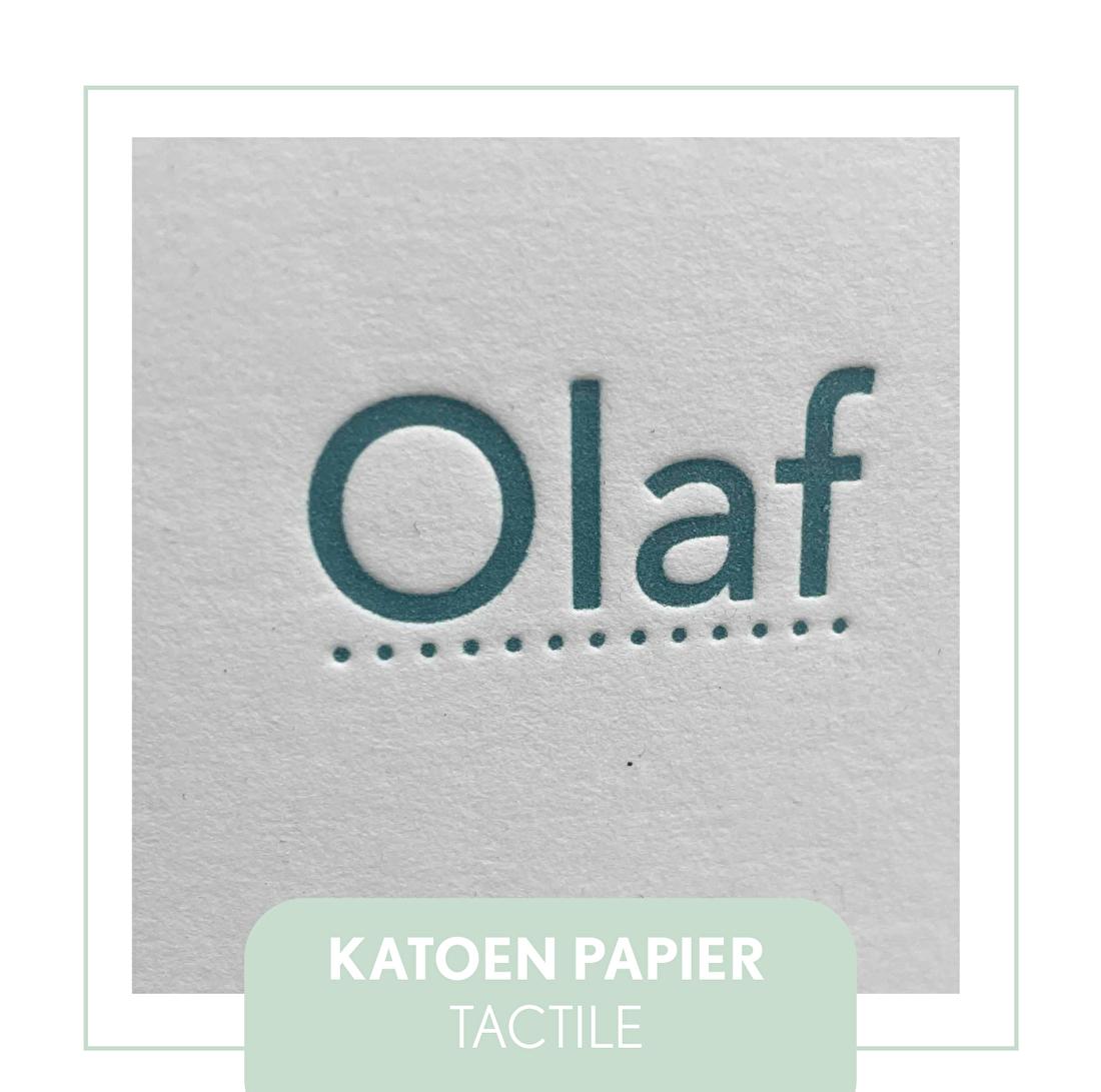 Olaf geboortekaartje letterpress goedkoop, katoen papier 300 gram.