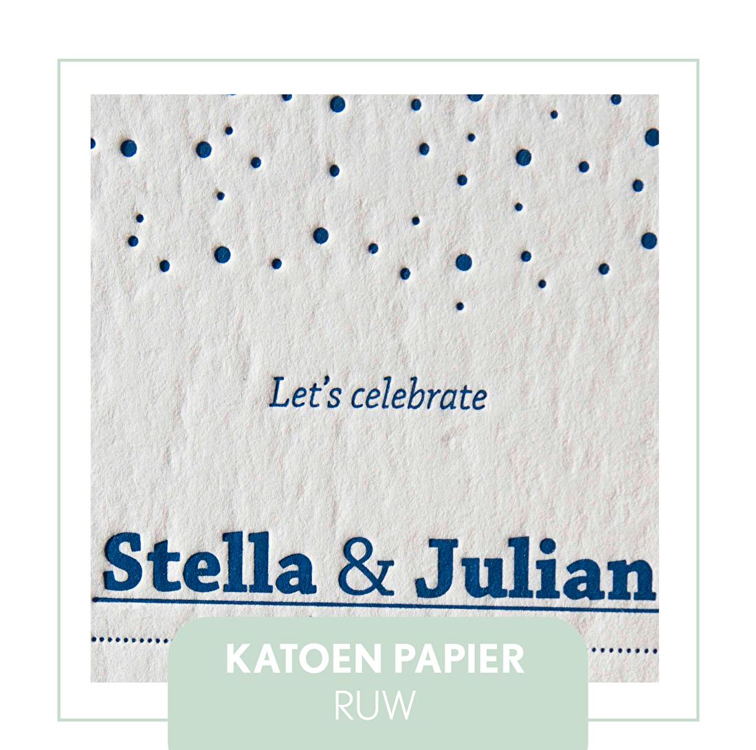 100% katoen papier, machon wild, letterpress, katoen papier, goedkoop, geboortekaartje, trouwkaart