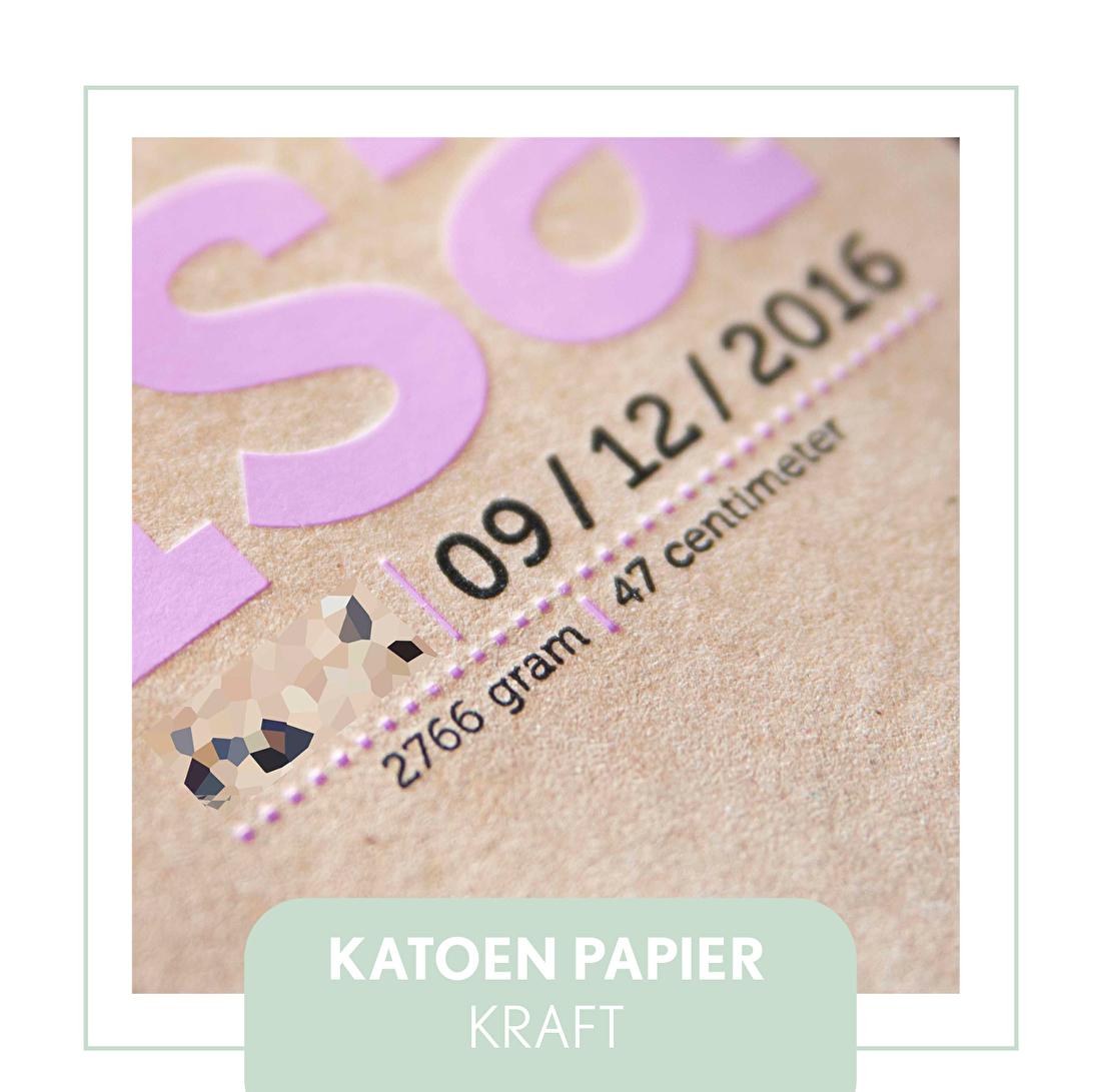 Kraft papier, geboortekaartje, letterpress, goedkoop, macho wild, 630 gram, folie roze, foliedruk,