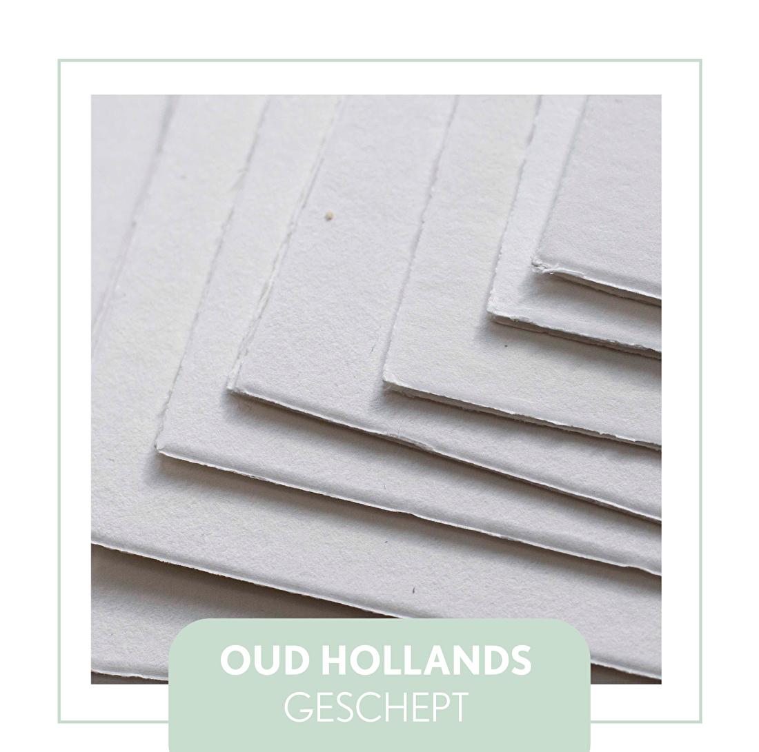 Oud Hollands geschept papier, schep rand. letterpress, goedkoop, geboorekaartje, trouwkaart, klassiek kaartje met strik/