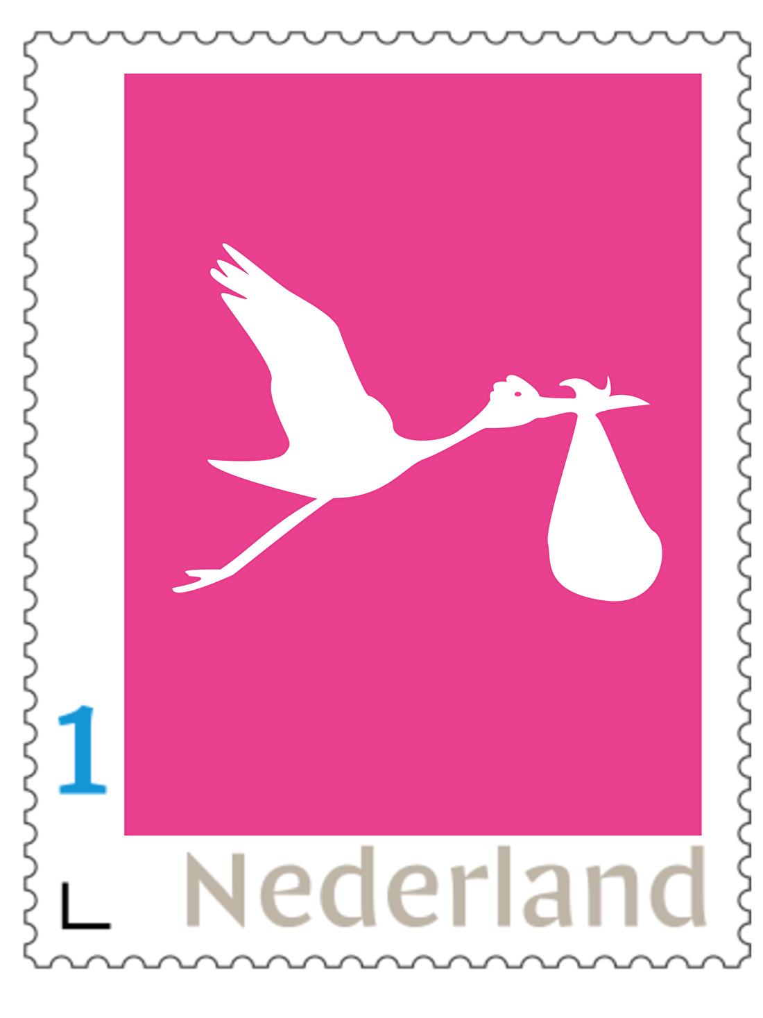 Persoonlijke postzegels geboorte, ooievaar, meisje