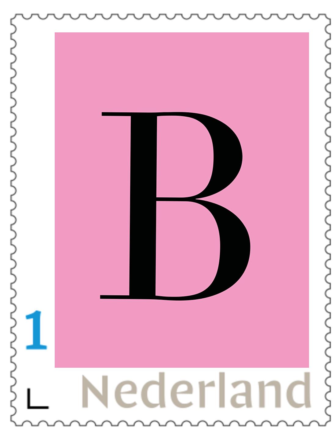 persoonlijke postzegel, letter , meisje, geboorte, roze, klassiek, gratis