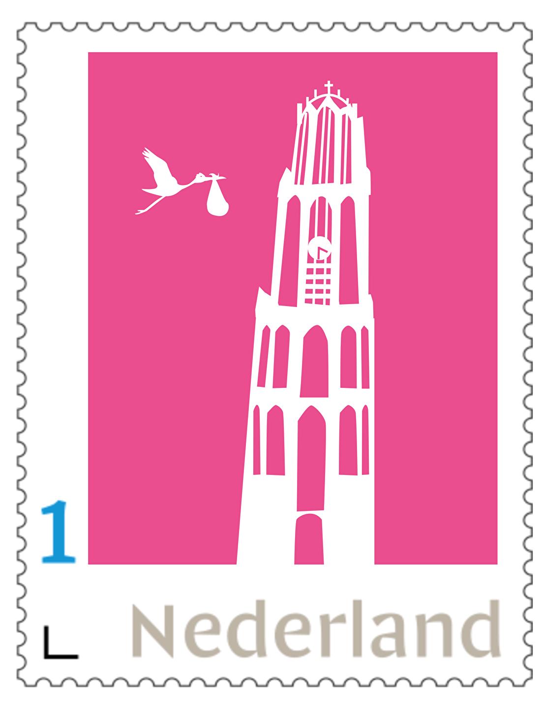 persoonlijke postzegel geboorte de dom utrecht, ooievaar, jongen og meisje, roze