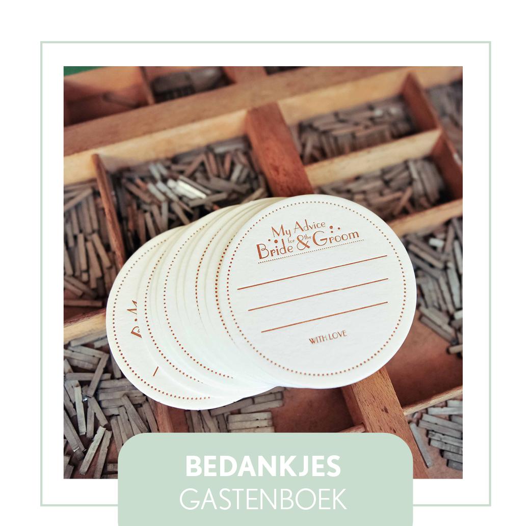 bedankjes/gastenboek trouwen bruiloft letterpress bijzonder unieke