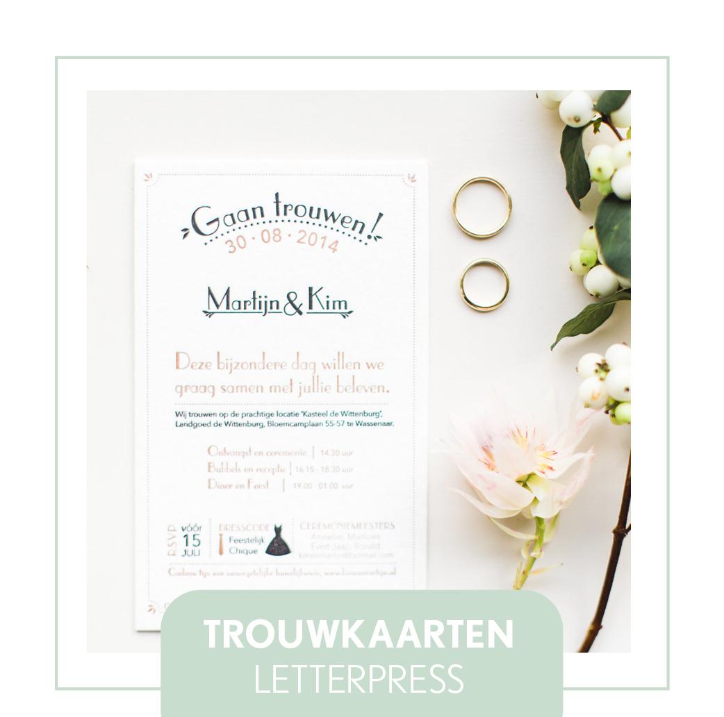 trouwkaarten letterpress stationery trouwstijl vinatge hip modern uniek goedkoop