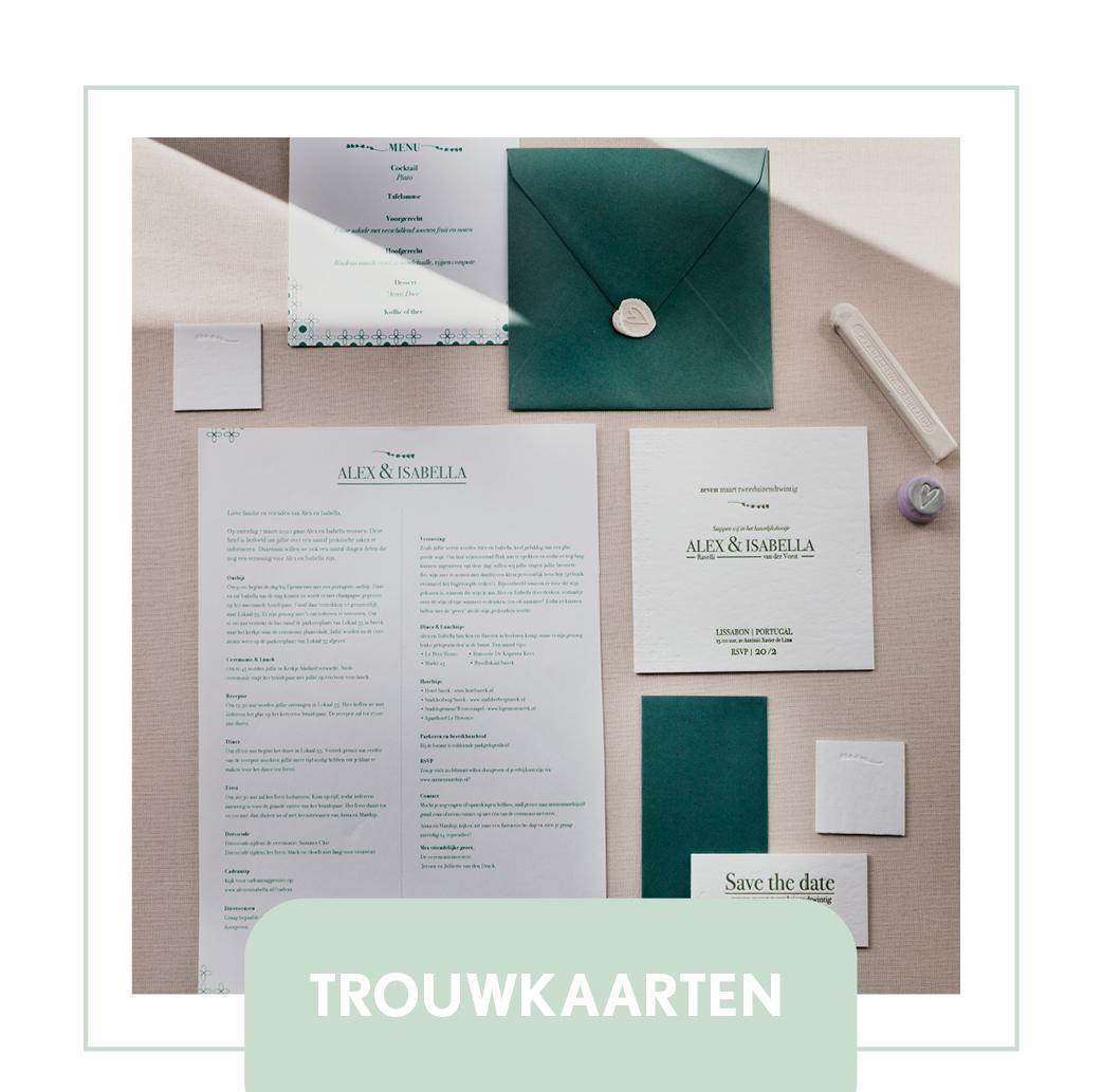 trouwkaarten letterpress minimalistisch hip modern goedkoop