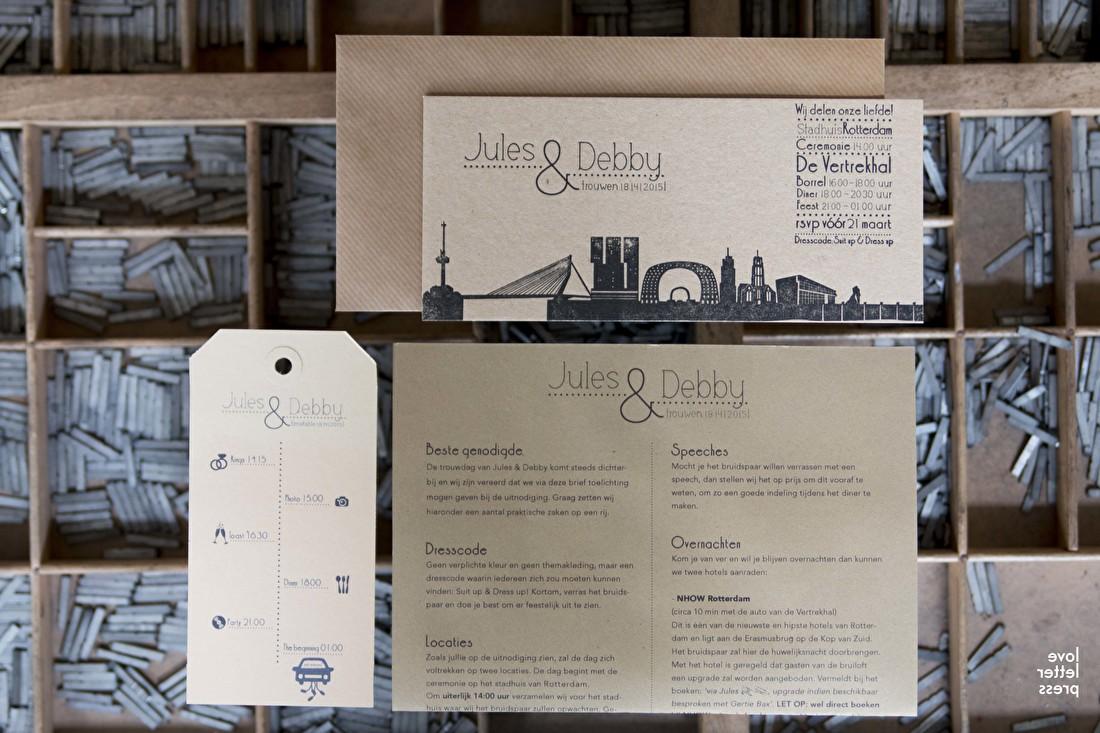trouwkaart letterpress, goedkoop, krat papier, cotton, macho wild, skyline Rotterdam