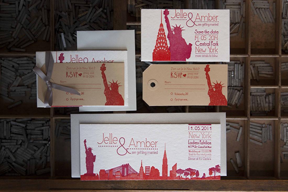Trouwkaart letterpress, savet the ate, goedkoop, new york, skyline
