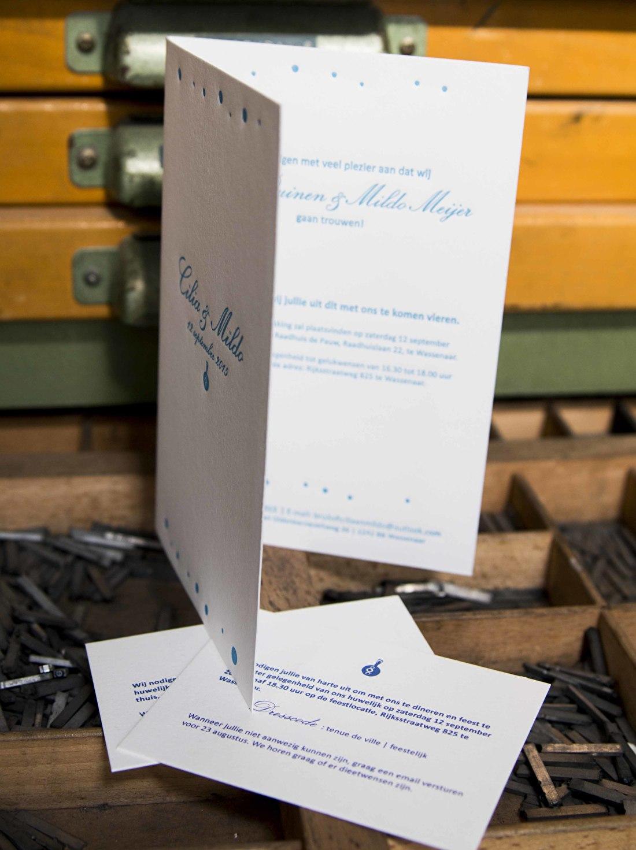 Trouwkaart letterpress, minimalistisch, goedkop, trouwstationery, exclusief