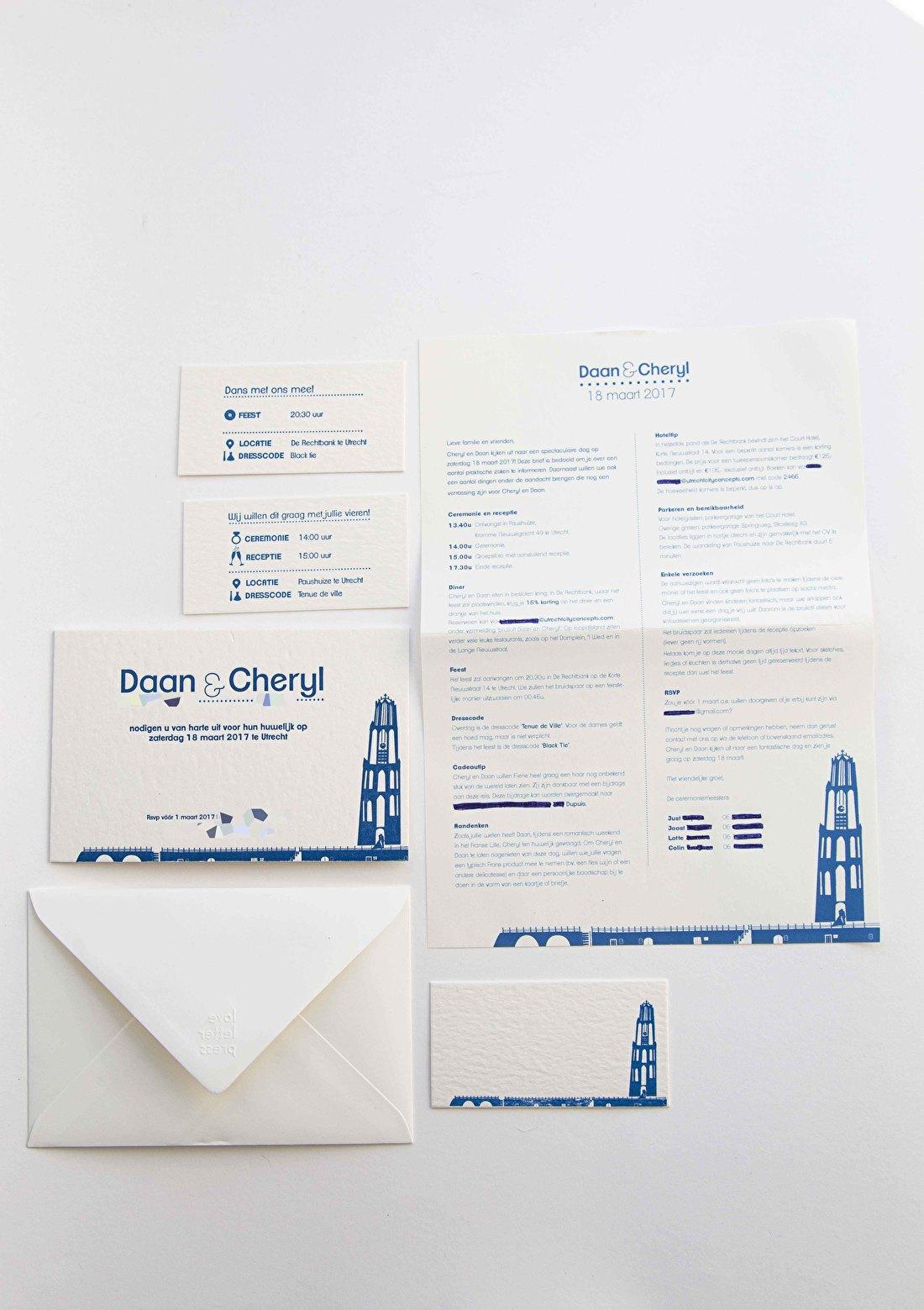 trouwkaart letterpress, goedkoop, skyline utrecht, katoen papier, macho wild 850 gram,