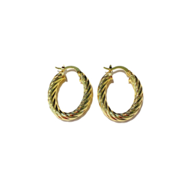 Golden twisted oval hoops