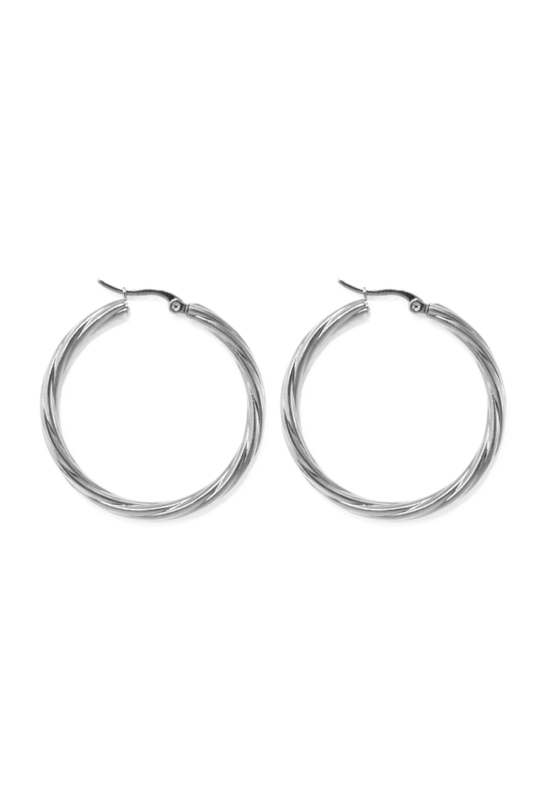 Silver twisted hoops (40mm)
