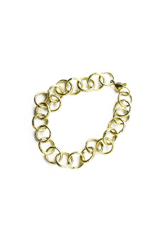 Golden round chain big bracelet