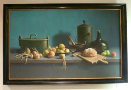 """Henk Helmantel """"fruit & brood tegen blauwe achtergrond"""""""