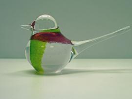kristal glas vogeltje groen/wit/rood