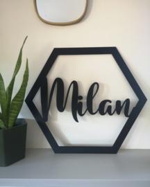 Hexagon met naam - verschillende formaten