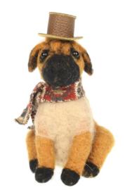 Hond bruin met hoed