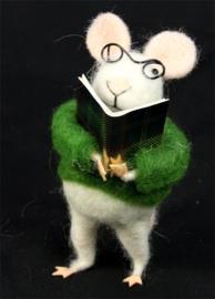 Muis met bril en boek