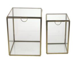 Vitrinedoos glas met goudkleurig metaal, set van 2