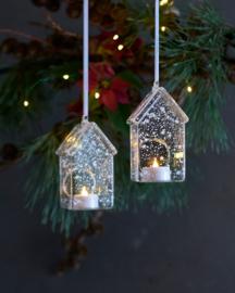 LED Lichthuisje van glas met sterretjes en sneeuwvlokken