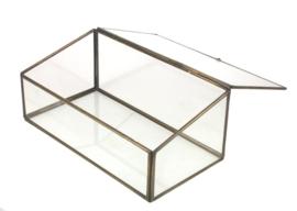 Vitrinedoos glas met goudkleurig metaal