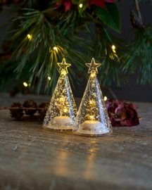 Mondgeblazen glazen boompje met LED lampjes