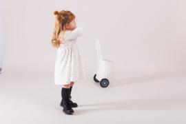 House of Jamie: Meisjes Collar Dress - Cream Black Dots