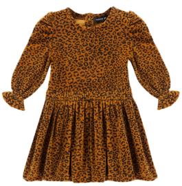 House of Jamie: Puff Shoulder Dress - Golden Brown Leopard