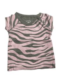 Baby de Luxe: T-shirt zebra grijs/roze