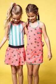 B.Nosy: Meisjes jurkje blauw-roze met tiger dots