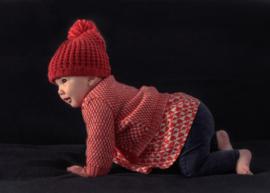 Imps&Elfs: Gebreide muts met pompon - Rood