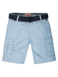 Petrol: Shorts met riem - Licht blauw