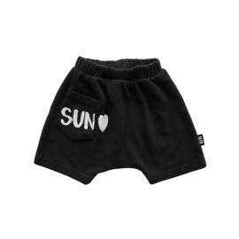 Little Man Happy: Sun Heart hang loose shorts - Black