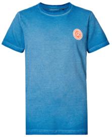 Petrol: T-shirt logo gestreept - Blauw