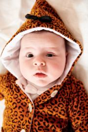 House of Jamie: Bow tie Hooded Jacket Golden Brown Leopard