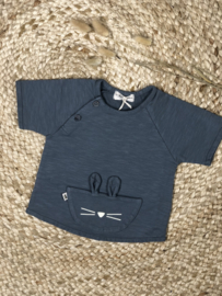 Petit Indi: Shirt - Konijnen oortjes - stone