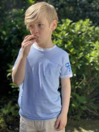 Petrol: T-shirt gestreept met pocketvak en logo - Blauw