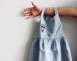 Little Man Happy tiki mask jurk - lichtblauw