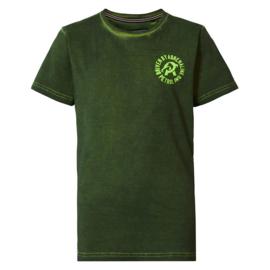 Petrol: T-shirt met all-over print - Donker groen