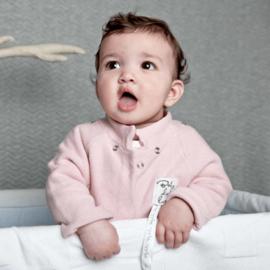 Baby deLuxe: Vestje gebreid met afneembare capuchon - roze