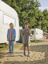 Mini Kid: Gestreept T-shirt - Oranje